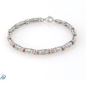 Diamond Bracelet 1/20ct Sterling, 10k Rose Gold